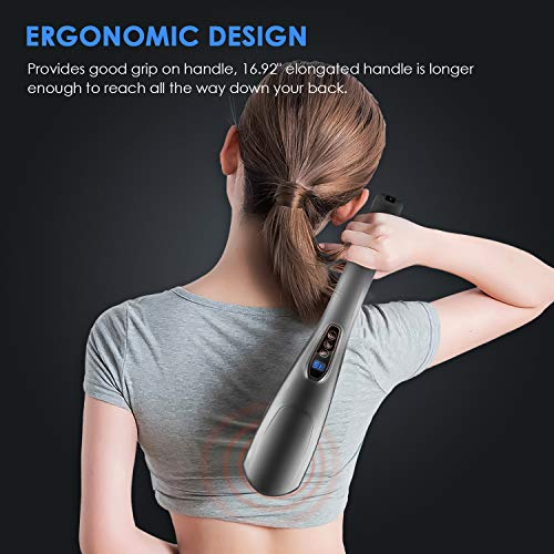 MOICO Handheld Back Massager, 6 Interchangeable Nodes, 10 Speeds & 12 Modes, Cordless Massagers Handheld Deep Tissue Massager for Muscles, Neck, Shoulder, Arms, Leg, Calf, Foot, Full Body Pain Relief