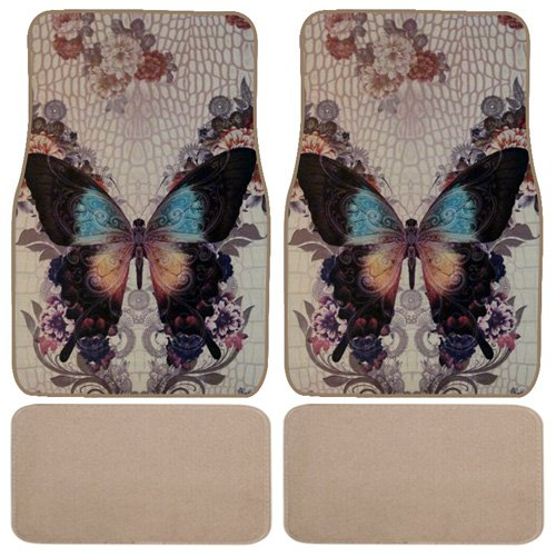 Black Lace Butterfly Car Truck SUV Universal-fit Front & Rear Seat Carpet Floor Mats - 4pc