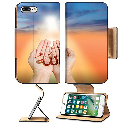 Luxlady Premium Apple iPhone 7 Plus Flip Pu Leather Wallet Case iPhone7 PLUS IMAGE ID: 38680752 Hands of man praying to allah god of Islam on a sunset The words spell is Allah means the God of