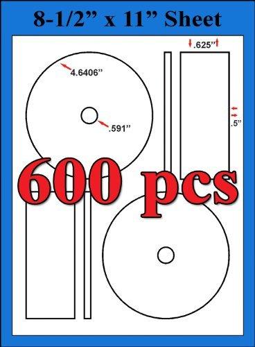 600 MEMOREX FULL FACE COMPATIBLE LABELS DISC CD/DVD Matte White Laser InkJet