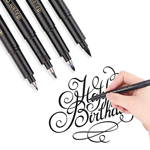 Hand Lettering Pen, 4 Sizes Black Calligraphy Pens Brush Markers Set for Beginners Signature Writing Art Drawing Illustration Sketching Bullet Journaling, Planner, Design, Refillable