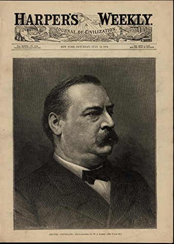 - President Grover Cleveland Portrait nice 1884 great old print for display