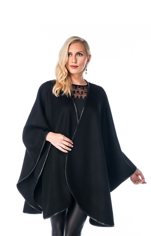 Madison Avenue Mall Cashmere Cape For Women Black - Leather Trimmed