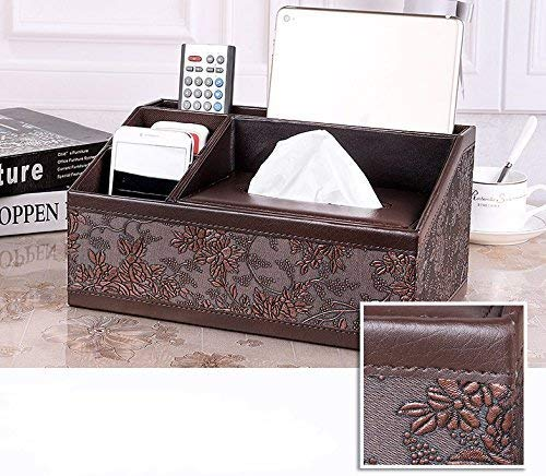 Natoo Leather Tissue box Holder TV Remote Control Holder Organizer / Controller TV Guide Mail Caddy for Desk Caddy Office Pens Pencils Makeup Brushes Vanity Nightstand Holder (Brown-L)