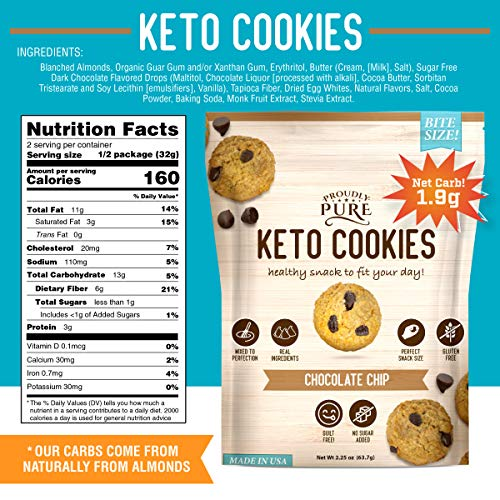 Proudly Pure Mini Bite Size On the Go 3 Pack Keto Cookie Chocolate Chip Snacks - Healthy Low Carb, Diet Friendly, Tasty and Delicious Gluten Free Food Treats Made With Real All Natural Ingredients 2