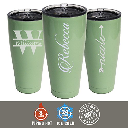 Custom Personalized 30 oz SIC Cups Tumbler - Engraved Powder Coated Cups with Double Wall Vacuum Sealed Sweat Free - Monogrammed for Free - Style Choice (Mint Green) - Freestyle Wall