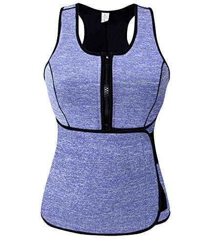 SlimmKISS Neoprene Sweat Vest for Women, Slimming Body Shaper with Adjustable Waist Trimmer Belt, Weight Loss]()