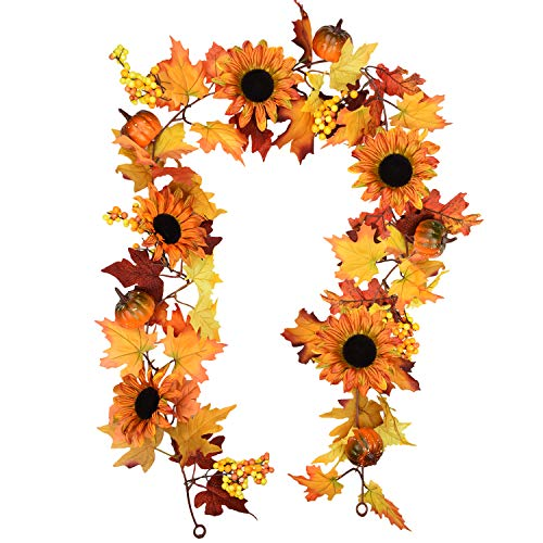Sunm boutique 6 feet Artificial Maple Leaf Berries Sunflower Pumpkin Garland Hanging Vine Decoration Autumn Fall Wedding Party Thanksgiving Home Decor (Office Flowers For Decoration)