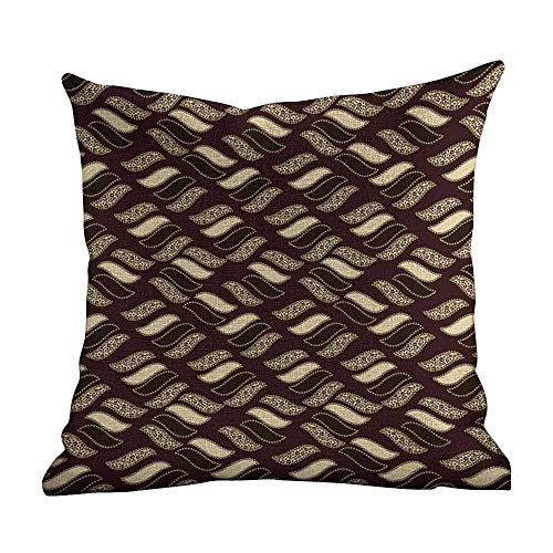 Cover Pillowcase African,Indigenous Abstract Shapes Cheetah Motif Jungle Animal Skin Motif,Dark Maroon Beige Brown,Home Decor Sofa Cushion Case 16