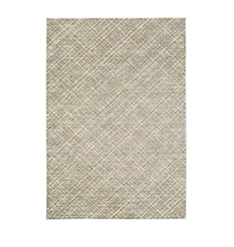 5.15 x 7.5 Hidden Diamond Pale Silver, French Beige and Olive Carved Area Throw Rug by Diva At Home