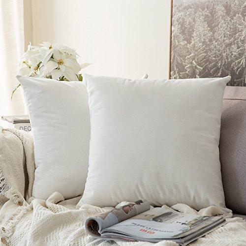 MIULEE Pack de 2, Terciopelo Suave Juego de Mesa de Manta de decoracion Cuadrado Fundas de Almohada Funda de cojin para sofa Dormitorio Coche 18 x 18 Pulgada 45 x 45 cm Blanco Puro