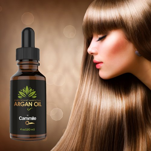 Argan Oil for Hair, Face, Nails & Skin Care - Certified Organic - 4 Oz - 100 % Pure Moroccan Oil - Treatment for Silky and Shiny Hair and Soft Skin - Best 100%