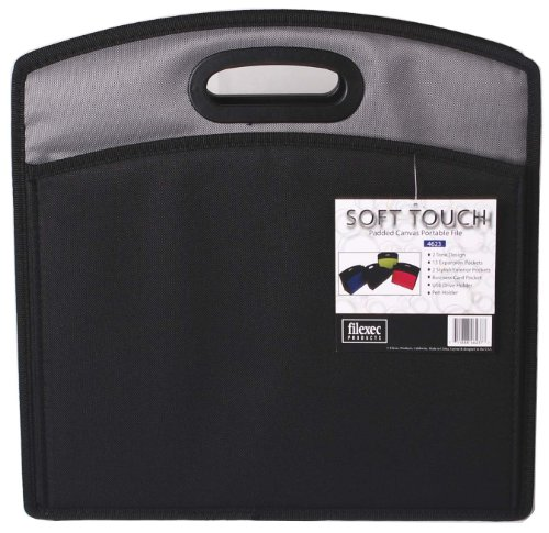 (Filexec Soft Touch Padded Canvas Portable File, 13 Pockets, Black, 1 Piece (46237-7) )