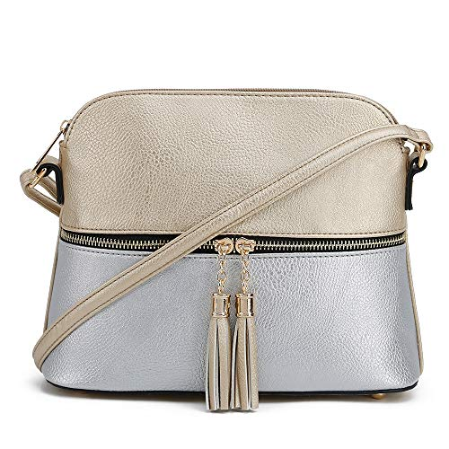 SG SUGU Lightweight Medium Dome Crossbody Bag with Tassel | Zipper Pocket | Adjustable Strap (Gold/Silver)
