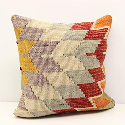 Yellow White Kilim Pillow Cover|Rug Pillow Case|12x20 Turkish Throw Pillow|Aztec Sham|Vintage Cushion Cover