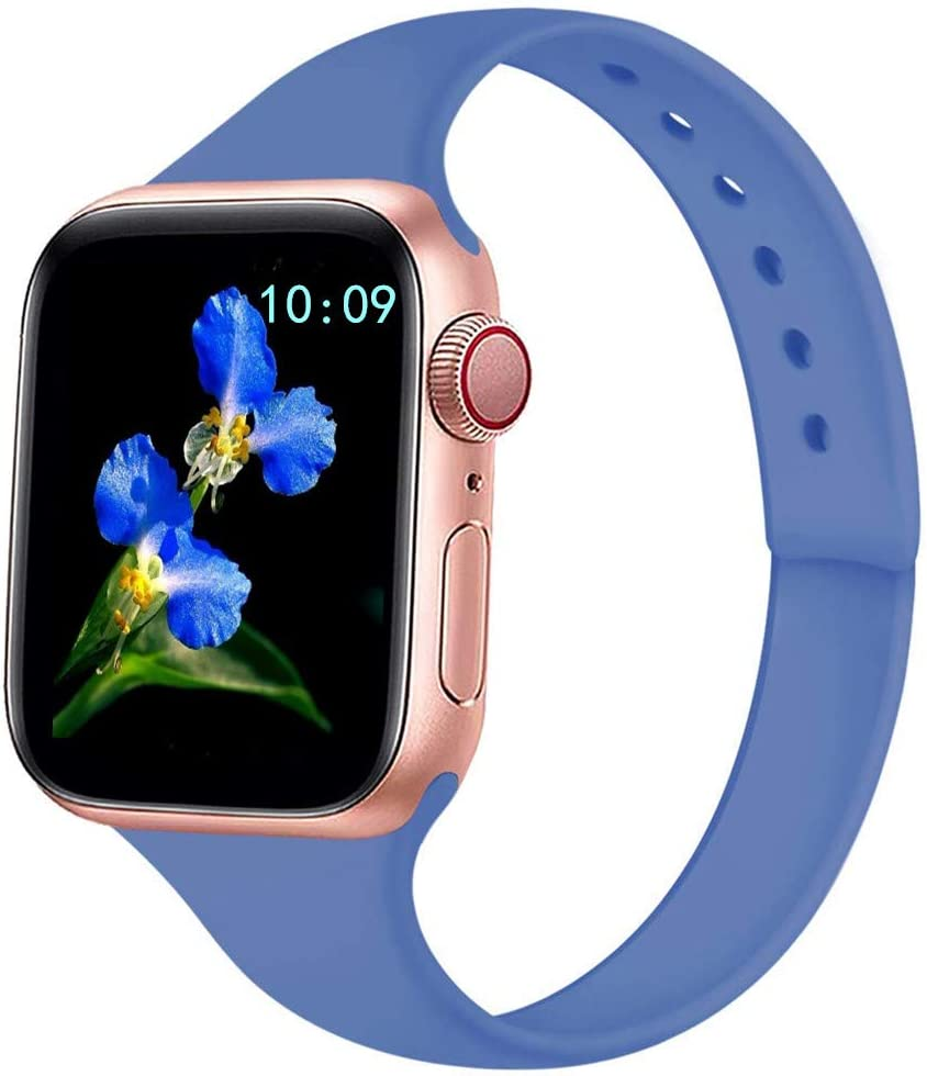 IWINTP Sport Slim Band Compatible for Apple Watch Band 38mm 42mm 40mm 44mm, Soft Silicone Thin Narrow Replacement Strap for iWatch Series 6 5 4 3 2 1 SE Women Men