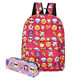 KooJooe Canvas Unisex Emoji Black School/Hiking/Travel/Camping/Laptop Backpack/Book bags/Day packs for Kids/Girls/Boys/Teenagers/Women(Free Pencil bag) (Red)
