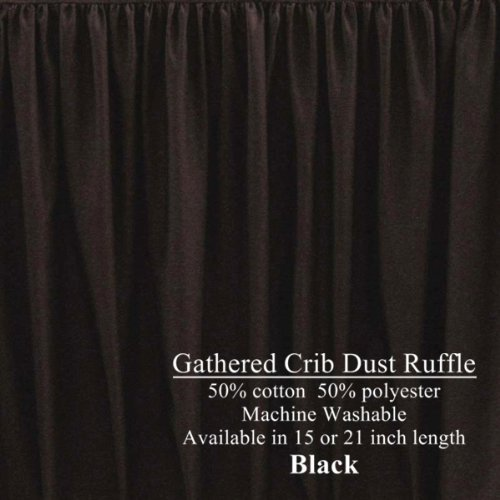 Long Cribskirt Gathered Dust Ruffle for Crib 21 inches long Color: Black