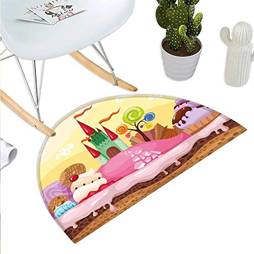 Anniutwo Cartoon Half Round Rubber Door mat Kids Sweet Castle Landscape with Donuts Muffins Ice Cream Nursery Image Half Round Front Door mat Sand Brown and Pink