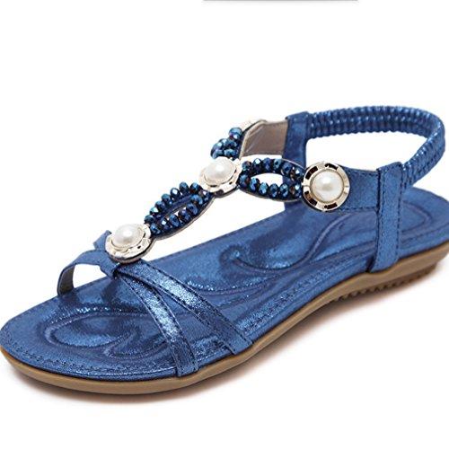 Taille Plates Sandales Perlées Xiaoqi Féminines Nouvelles Chaussures Diamant Bleu Américaines européennes LIANGXIE 2018 Grande et q1E74vxwOf