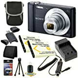 Sony Cyber-Shot DSC-W810 (Black) 20.1 MP Digital Camera + Two NP-BN1 Replacement Lithium Ion Battery + External Rapid Charger + Small Case + SDHC Card USB Reader + Memory Card Wallet + Deluxe Starter Kit DavisMax Bundle