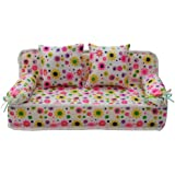 ReFaXi Lovely Miniature Furniture Flower Print Sofa Couch With 2 Cushions For Barbie Flower, 8.50cm