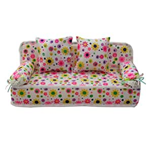 Elegant Amazon.com: ReFaXi Lovely Miniature Furniture Flower Print Sofa Couch With  2 Cushions For Barbie Flower, 8.50cm: Toys U0026 Games