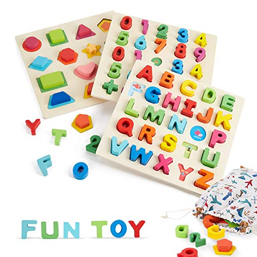 Wooden Toddler Puzzles, Shape+Number+Letters Puzzles for Kids Ages 3-8, Preschool Learning Toys for Boys and Girls (3 Sets W/Carry Bag)