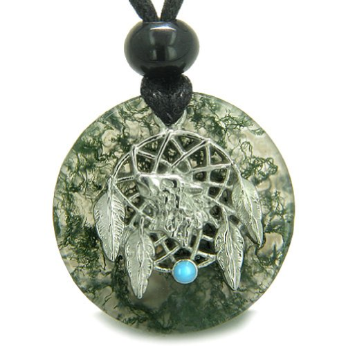 (BestAmulets Amulet Howling Wolf Dream Catcher Magic Circle Moss Agate Good Luck Pendant Necklace)