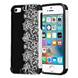 iPhone SE Case, Capsule-Case Hybrid Dual Layer Silm Defender Armor Combat Case (White & Black) Brush Texture Finishing for iPhone SE/iPhone 5s / iPhone 5 - (Black Lace)