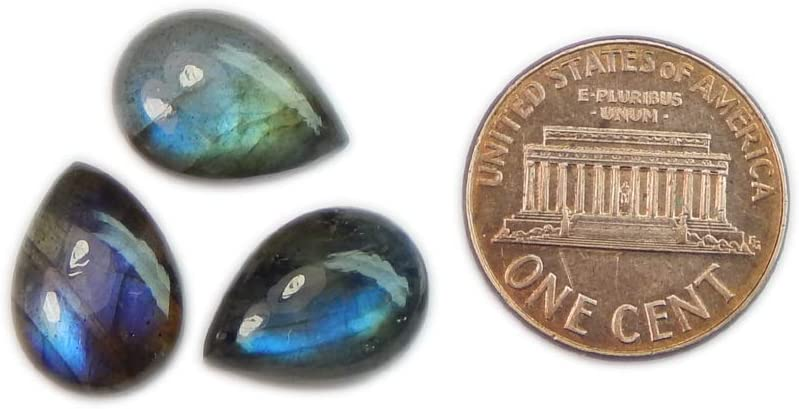 62.40 crt LABRADORITE  Good Quality Pear Shape Cabochon size 17x26-18x28 mm weight 3 pcs