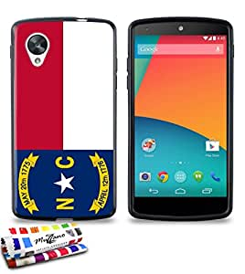 Carcasa Flexible Ultra-Slim GOOGLE NEXUS 5 de exclusivo motivo [Carolina del Norte Bandera] [Negra] de MUZZANO  + ESTILETE y PAÑO MUZZANO REGALADOS - La Protección Antigolpes ULTIMA, ELEGANTE Y DURADERA para su GOOGLE NEXUS 5