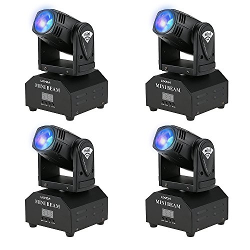 Lixada 4PCS LED Head Moving Light Rotating Moving Head DMX512 Sound Activated Master-slave Auto Running 11/13 Channels RGBW Color Changing Beam Light for Disco KTV Club Party