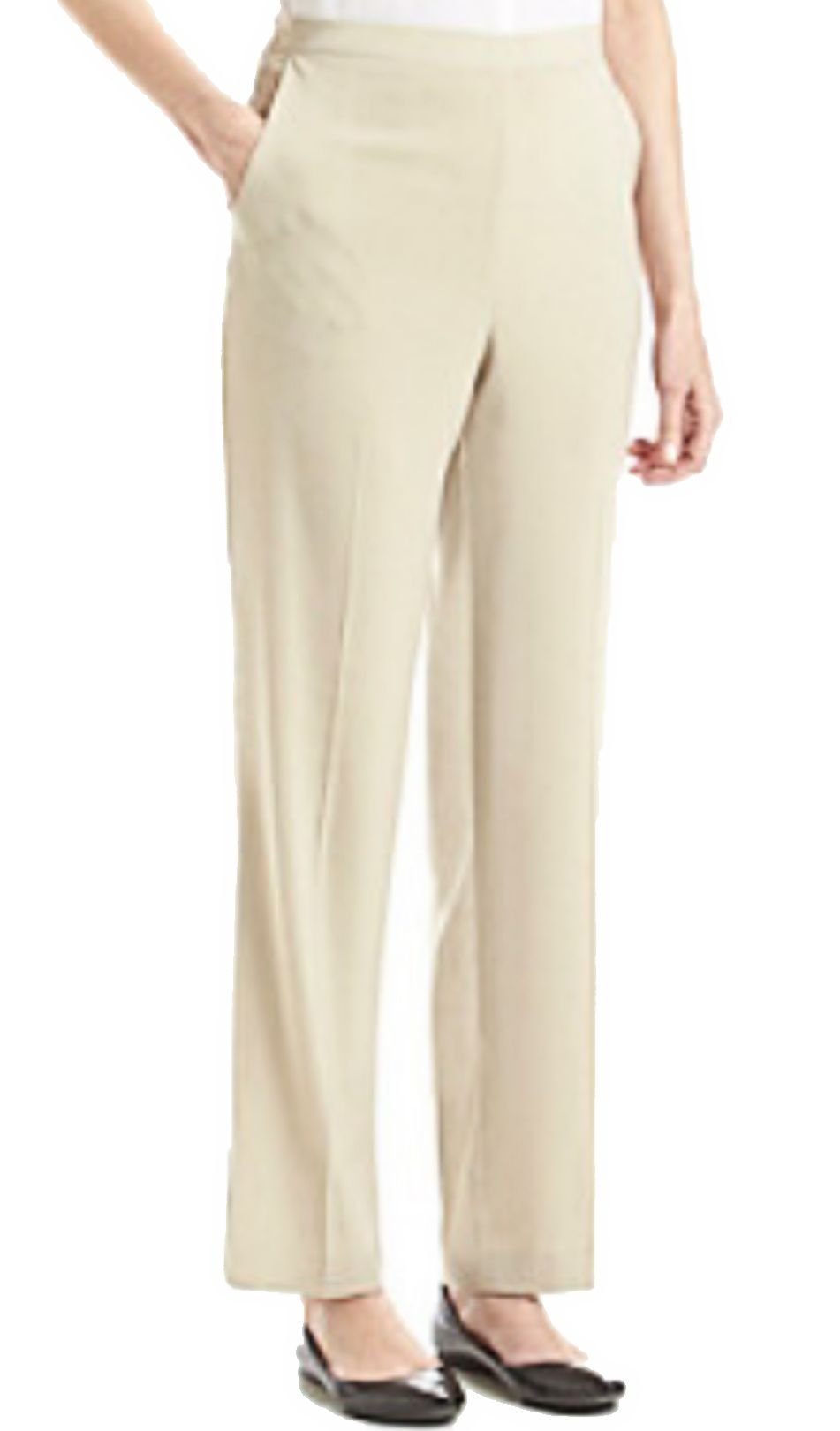 Alfred Dunner Womens Animal Magnetism Flat Front Short Proportioned Pants, Stone (16S)