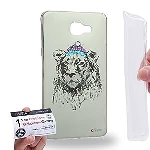Case88 [Samsung Galaxy A9 (2016)] Gel TPU Carcasa/Funda & Tarjeta de garantía - Art Design Lion Personate Animals Art1607