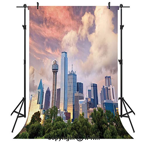 United States Photography Backdrops,Dallas City Skyline at Sunset Clouds Texas Highrise Skyscrapers Landmark Decorative,Birthday Party Seamless Photo Studio Booth Background Banner 3x5ft,Multicolor]()