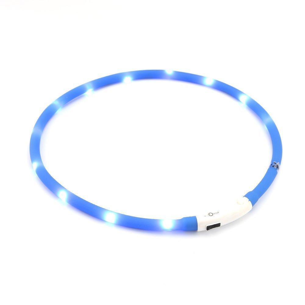 ZOGIN Collar de perro LED, collar de seguridad recargable USB para perro gato y otro animal doméstico, color azul