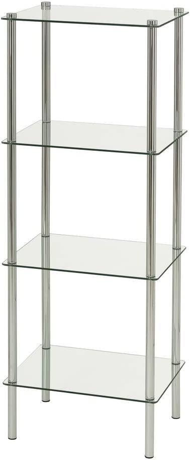 Estantería con 4 baldas de Cristal y Metal contemporáneo Plateada de 108x30x40 cm - LOLAhome