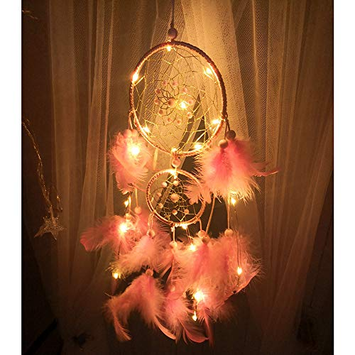 Digood Night Light Dream Catchers, Dream Catcher with Button Battery, Dream Catchers Handmade Traditional Feather Hanging Home Wall Décor Ornament Craft (Pink 11 x 45 cm)
