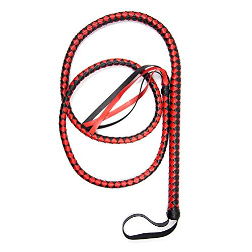 BESTOYARD Bullwhip Leather Costumes Whip Torero Bull Whip Braided Tails Equestrian Horse Sport Whips for Halloween Party Favor 1.9M(Red and Black) -