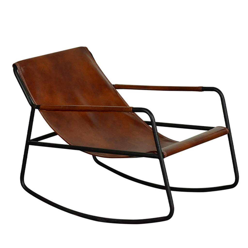 Nordic Simple Furniture Deck Chair Iron Wrought Rocking Chair with PU Leather Seat,Metal Frame for Living Room Bedroom Balcony,Comfortable Modern Furniture by WY rocking chair