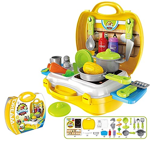TANMAN TOYS Kitchen Set Toys for Kids Girls Big Size in a Foldable Suitcase with All Kitchen Accessories | Yellow
