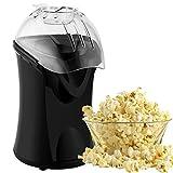 Popcorn Maker 1200W Popcorn Electric Machine Hot Air Popcorn Popper with Wide Mouth Design (Black)