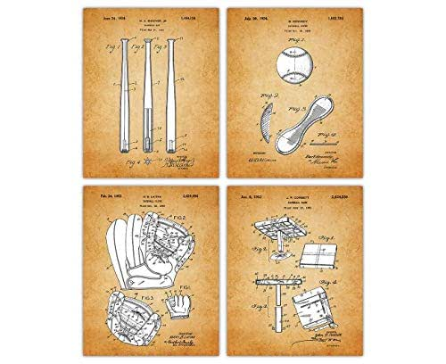 Vintage Baseball Patent Poster Prints: Set of 4 Unframed 8x10 Photos - Unique Wall Art Sports Decor For Boys, Girls, Home Office, Game Room & Man Cave - Great Gift Under $20 for Men, Women, Coach