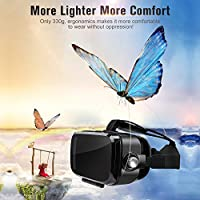 SMAVR 3D VR Immersive Headset Glasses, Virtual Reality Viewer Helmet Goggles, Private Theater for Movie & Games. Adjustable Pupil, Fit for Most Users via iOS & Android Phone (Black) from SMAVR