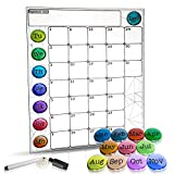 Monthly Magnetic Refrigerator Calendar - Dry Erase Whiteboard- Monthly Planner Set With Fridge Magnets of Months & Days- Bonus Marker Included- Outstanding Design