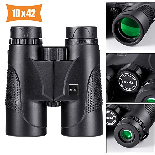 HUTACT 10x42 Binoculars for Adults, BAK4 Prism & FMC Lens Well for Adults and Kids, Professional Compact Binoculars for Bird Watching, Hunting, Travel, Marine, Concert; with Neck Strap and Case