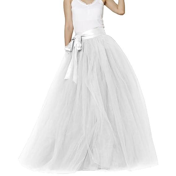 c28c0911c9174a Jupe longue de mariée en tulle pour femme avec nœud pour mariage