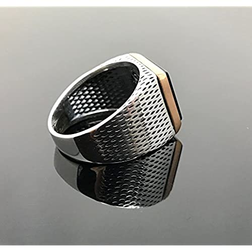 KAR 925K Stamped Sterling Silver Black Onyx Men's Ring K4D