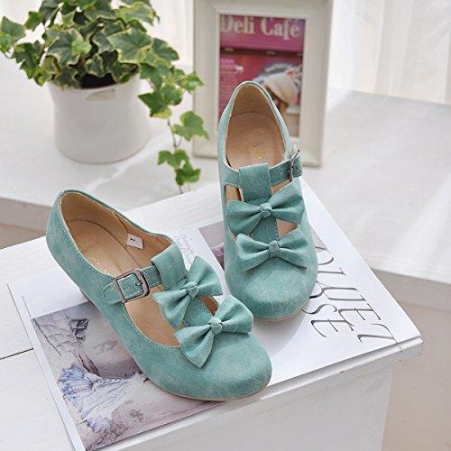 Mfairy Dames Lage Hak Vintage Lolita Schoenen Cute Bowknot Mary Jane Schoenen Blauw